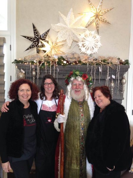 Santa with Mary Jane Eckert (President). Darla Haynes and Janet Reed (House co-Chairpersons)